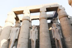 King statue at Luxor temple. Day view of Luxor Temple Luxor, Egypt royalty free stock photos