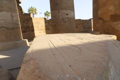 Archaeology of Luxor Temple - Egypt. Day view of Luxor Temple Luxor, Egypt royalty free stock photo