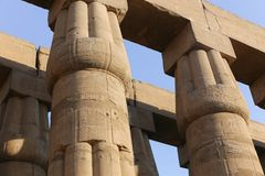 Archaeology of Luxor Temple - Egypt. Day view of Luxor Temple Luxor, Egypt royalty free stock image