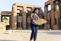Tourist at Temple of Luxor - Egypt. Day view of Luxor Temple Luxor, Egypt royalty free stock photography