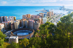 Day view of Malaga with Port and Placa de Torros Royalty Free Stock Photo