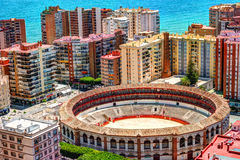 Day view of Malaga with Port and Placa de Torros Stock Image