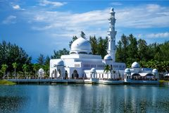 Day view of mosque ubai Lake, Malaysia. Day view of ubai Lake, Malaysia Stock Photo
