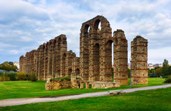 Day view of old roman aqueduct at Merida Royalty Free Stock Photography