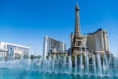 Las Vegas, NV, USA 09032018: stunning view of Paris hotel in day light during bellagio fountain show. Day view of Paris hotel and Bally's during the stock photo