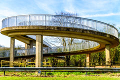 Day view pedestrian bridge over uk motorway Stock Images