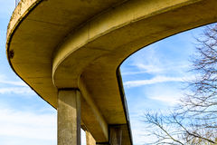 Day view pedestrian bridge over uk motorway Royalty Free Stock Photos