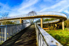 Day view pedestrian bridge over uk motorway Royalty Free Stock Photo