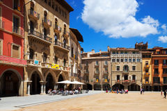 Day view of Placa Mayor with restorains in Vic Royalty Free Stock Photo