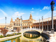 Day  view of Plaza de Espana with bridge. Seville Royalty Free Stock Photography