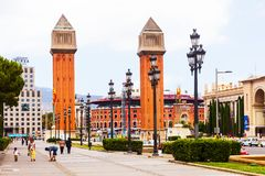 Day view of Plaza de Espana with Venetian towers Royalty Free Stock Image