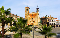 Day view of Plaza Mayor at Trujillo Stock Photos