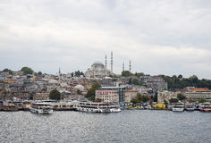 Day view on the restaurants at the end of the Galata bridge Stock Photo