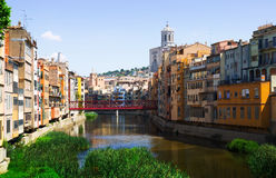 Day view of river and picturesque homes in Girona Royalty Free Stock Images