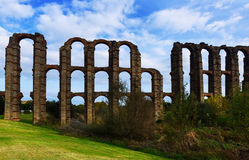 Day view of  roman aqueduct at Merida Royalty Free Stock Photo