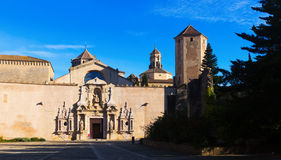 Day view of Royal Abbey of Santa Maria de Poblet Royalty Free Stock Photography