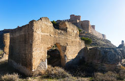 Day view of ruins and castle of Chinchilla Stock Image