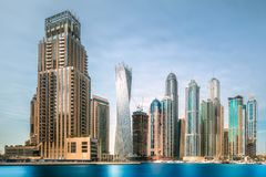 Day view of sea bay in Dubai Marina, UAE. Panoramic day view of sea bay in Dubai Marina, UAE royalty free stock photos