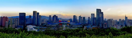Day view of Shenzhen Civil Center. Panoramic view of Shenzhen Civil Center, China royalty free stock photography