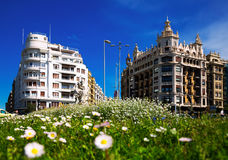 Day view  of street in San Sebastian.    Euskadi square Royalty Free Stock Image