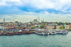 Day view of the Suleymaniye Mosque. ISTANBUL, TURKEY - MAY 1, 2017: Day view of the Suleymaniye Mosque and fishing boats in Eminonu, Istanbul, Turkey Royalty Free Stock Photos