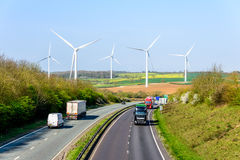 Day view UK Motorway Road Wind Turbines Stock Images