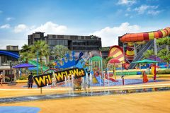 Day view of the Wild Wild Wet. SINGAPORE - DECEMBER 8, 2017: Day view of the Wild Wild Wet, the largest water park in Singapore, located in Downtown East in stock images