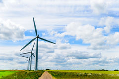 Day view wind power turbines generate electricity.  stock images