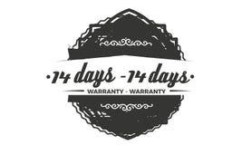 14 day warranty design,best black stamp. 14 day warranty design stamp badge icon royalty free illustration
