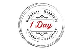 1 day warranty icon vintage. Rubber stamp guarantee Stock Photo