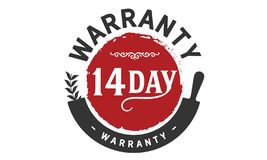 14 day warranty illustration design stamp. Badge icon stock illustration