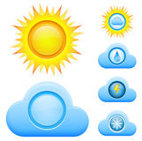 Day weather icons. Vector illustration of colorful weather icons Stock Photos