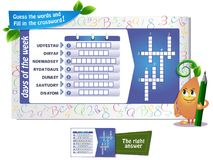 Day of the week crossword. Educational game for kids and adults development of logic, iq. Task game guess the words  and fill in the crossword Stock Photos