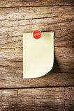 Day of week Sticky note with pin over wooden background Stock Photos