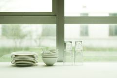 The day before the windows clean utensils picture Stock Image