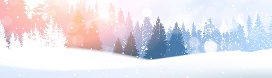 Day In Winter Forest Glowing Snow Under Sunshine Woodland Landscape White Snowy Pine Tree Woods Background. Flat Vector Illustration