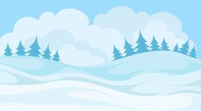 Day in winter forest, snowy landscape background with trees and hills vector Illustration. Element for poster or banner Stock Image