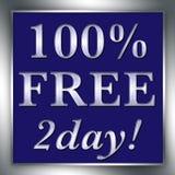 100% 2day znaka BEZPŁATNY srebro Zdjęcia Royalty Free