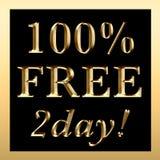 100% 2day znaka BEZPŁATNY złoto Obrazy Royalty Free