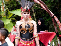 Dayak dance. Artists perform Dayak dance  in a cultural festival in a village in Sukoharjo, Central Java, Indonesia Stock Images