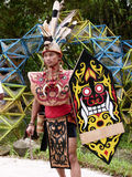 Dayak dance. Artists perform Dayak dance  in a cultural festival in a village in Sukoharjo, Central Java, Indonesia Royalty Free Stock Photo
