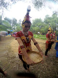Dayak dance. Arts delegation Borneo perform Dayak dances in the rain festival in Sukoharjo, Central Java, Indonesia Royalty Free Stock Image