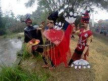 Dayak dance. Arts delegation Borneo perform Dayak dances in the rain festival in Sukoharjo, Central Java, Indonesia Stock Photo