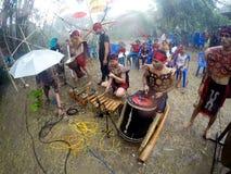 Dayak dance. Arts delegation Borneo perform Dayak dances in the rain festival in Sukoharjo, Central Java, Indonesia Stock Image