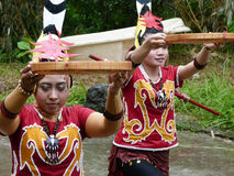 Dayak dance. Dayak perform Borneo traditional dance in a cultural event in Sukoharjo, Cantral java, Indonesia Stock Photo
