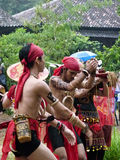 Dayak dance. Dayak perform Borneo traditional dance in a cultural event in Sukoharjo, Cantral java, Indonesia Royalty Free Stock Photo
