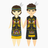 Dayak Traditional Clothes Vector Stock Image