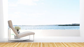 Daybed na opinião do lago do terraceand no hotel - rendição 3D Foto de Stock Royalty Free