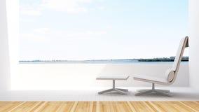 Daybed på terrass i hotellet - tolkning 3D Fotografering för Bildbyråer