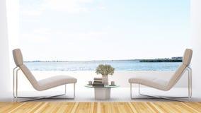 Daybed på terrass i hotellet - tolkning 3D Royaltyfri Foto